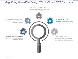Magnifying Glass Flat Design With 5 Circles Ppt Summary