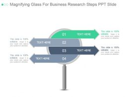 Magnifying Glass For Business Research Steps Ppt Slide