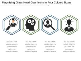 Magnifying Glass Head Gear Icons In Four Colored Boxes