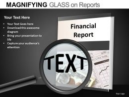 Magnifying Glass On Reports Powerpoint Presentation Slides DB