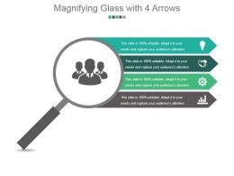 Magnifying Glass With 4 Arrows Powerpoint Slide Inspiration