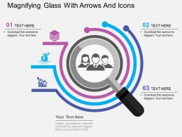 Magnifying Glass With Arrows And Icons Flat Powerpoint Design