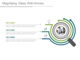 Magnifying Glass With Arrows And Icons Teamwork Analysis Powerpoint Slides