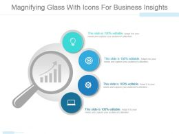 Magnifying Glass With Icons For Business Insights Powerpoint Slides Design