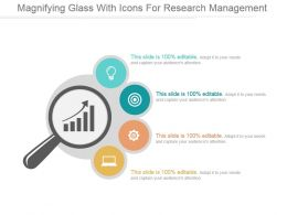 Magnifying Glass With Icons For Research Management Ppt Slides
