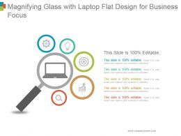 Magnifying Glass With Laptop Flat Design For Business Focus Ppt Diagrams