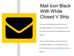 Mail Icon Black With White Closed V Strip