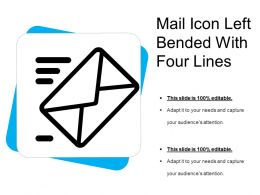 Mail Icon Left Bended With Four Lines