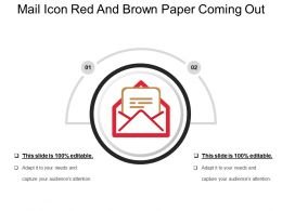 Mail Icon Red And Brown Paper Coming Out