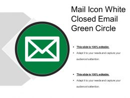 Mail Icon White Closed Email Green Circle
