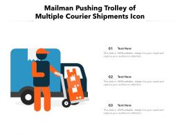 Mailman Pushing Trolley Of Multiple Courier Shipments Icon
