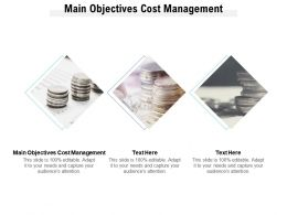 Main Objectives Cost Management Ppt Powerpoint Presentation Icon Slides Cpb