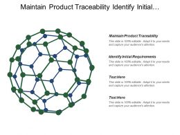 Maintain Product Traceability Identify Initial Requirements Personal Career