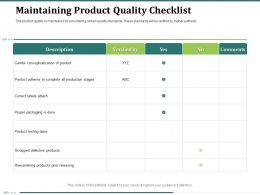 Maintaining Product Quality Checklist Correct Labels Powerpoint Presentation Gridlines