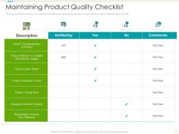 Maintaining Product Quality Checklist Food Safety Excellence Ppt Rules
