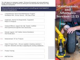 Maintenance And Aftersales Services Offshore Ppt Powerpoint Presentation Summary Templates