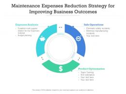 Maintenance Expenses Reduction Strategy For Improving Business Outcomes