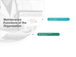 Maintenance Functions Of The Organization Activities Ppt Powerpoint Presentation Design Ideas