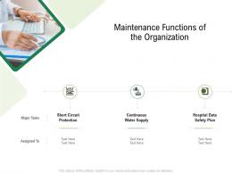 Maintenance Functions Of The Organization Hospital Administration Ppt Model Information