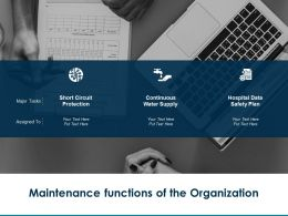 Maintenance Functions Of The Organization Hospital Data Ppt Powerpoint Presentation Summary