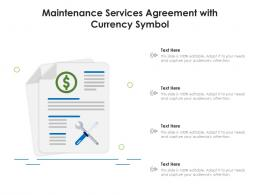 Maintenance Services Agreement With Currency Symbol