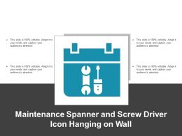 Maintenance Spanner And Screw Driver Icon Hanging On Wall