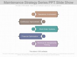 Maintenance Strategy Series Ppt Slide Show