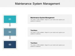 Maintenance System Management Ppt Powerpoint Presentation Pictures Clipart Images Cpb