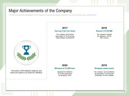 Major Achievements Of The Company Start Up Year Award Ppt Powerpoint Presentation Themes