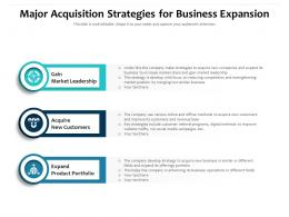 Major Acquisition Strategies For Business Expansion