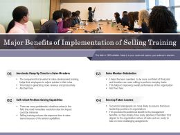 Major Benefits Of Implementation Of Selling Training
