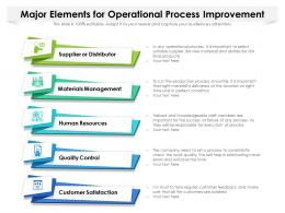 Major Elements For Operational Process Improvement