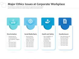 Major Ethics Issues At Corporate Workplace