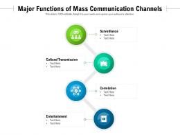 Major Functions Of Mass Communication Channels