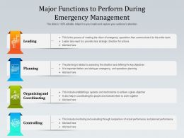 Major Functions To Perform During Emergency Management