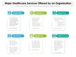 Major Healthcare Services Offered By An Organization