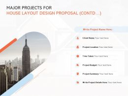 Major Projects For House Layout Design Proposal Contd Management Ppt Ideas