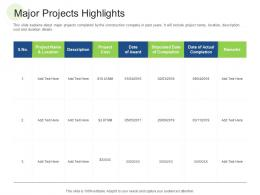 Major Projects Highlights RCM S W Bid Evaluation Ppt Styles Show