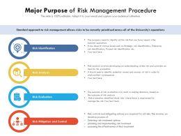 Major Purpose Of Risk Management Procedure