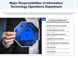 Major Responsibilities Of Information Technology Operations Department