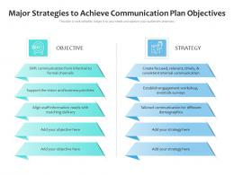 Major Strategies To Achieve Communication Plan Objectives