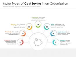 Major Types Of Cost Saving In An Organization