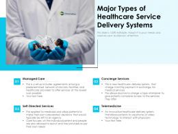 Major Types Of Healthcare Service Delivery Systems