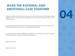 Make The Rational And Emotional Case Together Strategic Ppt Slides