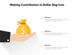 Making Contribution In Dollar Bag Icon