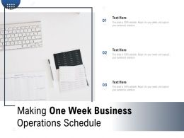Making One Week Business Operations Schedule