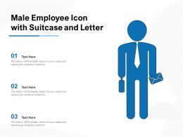 Male Employee Icon With Suitcase And Letter