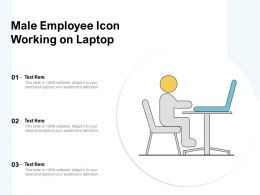 Male Employee Icon Working On Laptop
