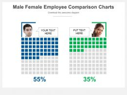 Male Female Employee Comparison Charts Powerpoint Slides