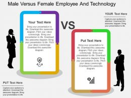 male_versus_female_employee_and_technology_flat_powerpoint_design_Slide01